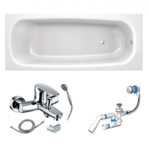 Готовое решение №58 (стальная ванна BLB+опора+cмеситель для ванны и душа CLEVER+сифон-полуавтомат)
