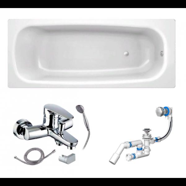 Готовое решение №61 (стальная ванна BLB+опора+cмеситель для ванны и душа CLEVER+сифон-полуавтомат)