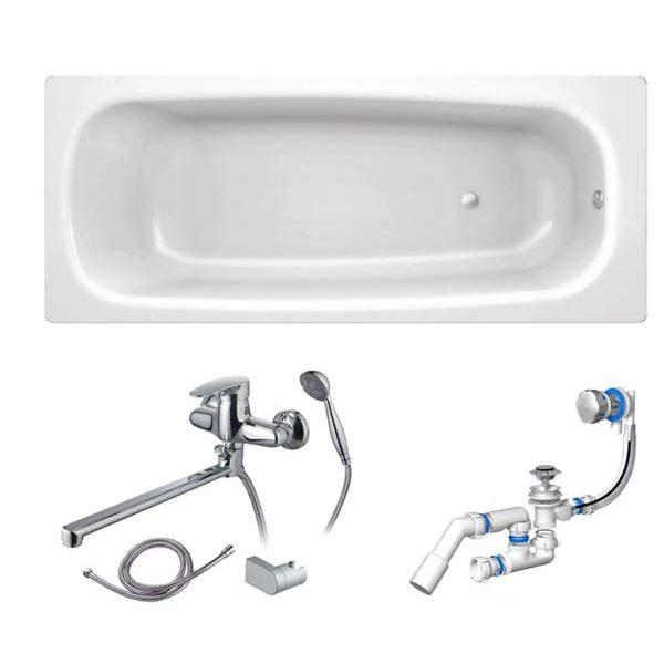 Готовое решение №62 (стальная ванна BLB+опора+cмеситель для ванны и душа CLEVER+сифон-полуавтомат)
