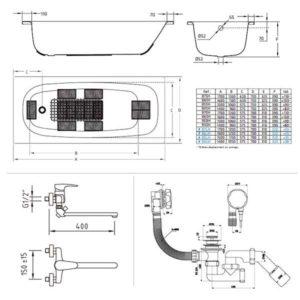 Готовое решение №50 (стальная ванна BLB+опора+cмеситель для ванны и душа CLEVER+сифон-полуавтомат)