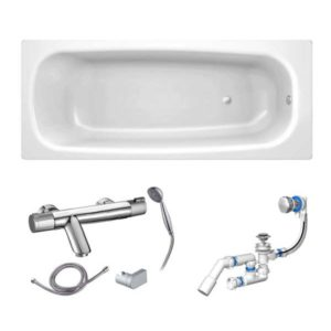 Готовое решение №57 (стальная ванна BLB+опора+смеситель термостатический Clever+сифон-полуавтомат)