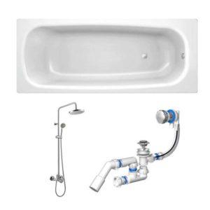 Готовое решение №66 (стальная ванна BLB+опора+душевая система+сифон-полуавтомат)