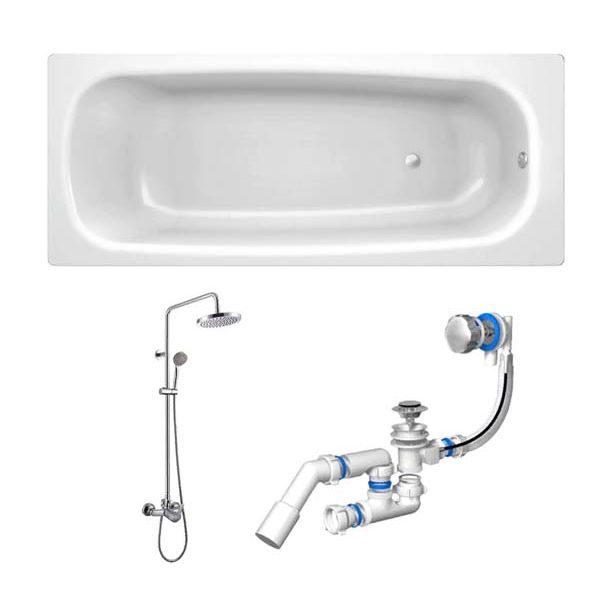 Готовое решение №64 (стальная ванна BLB+опора+душевая система+сифон-полуавтомат)