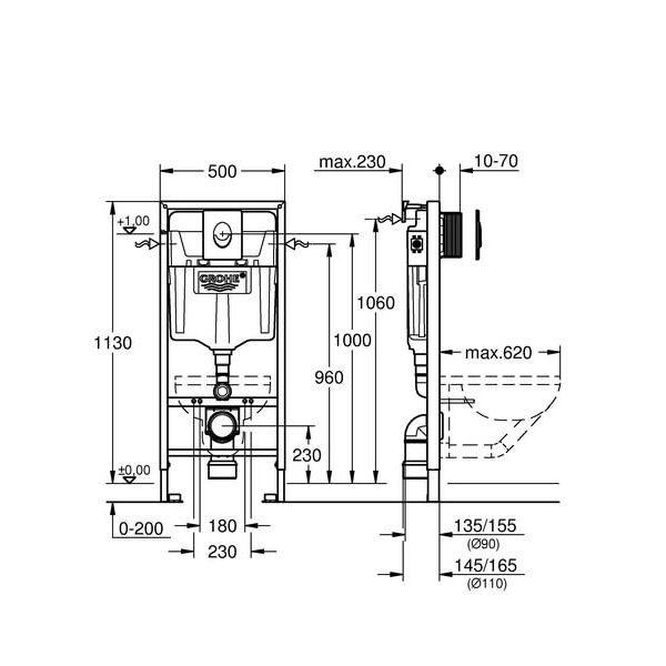 Система инсталляции Grohe Rapid SL 38721001 + подвесной унитаз Lavinia Boho One Rimless 3302004R