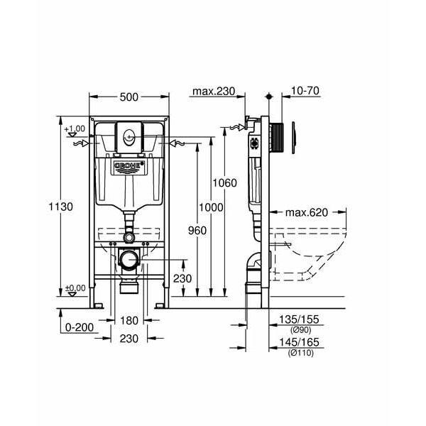 Система инсталляции Grohe Rapid SL 38750001 + подвесной унитаз Lavinia Boho One Rimless 3302004R