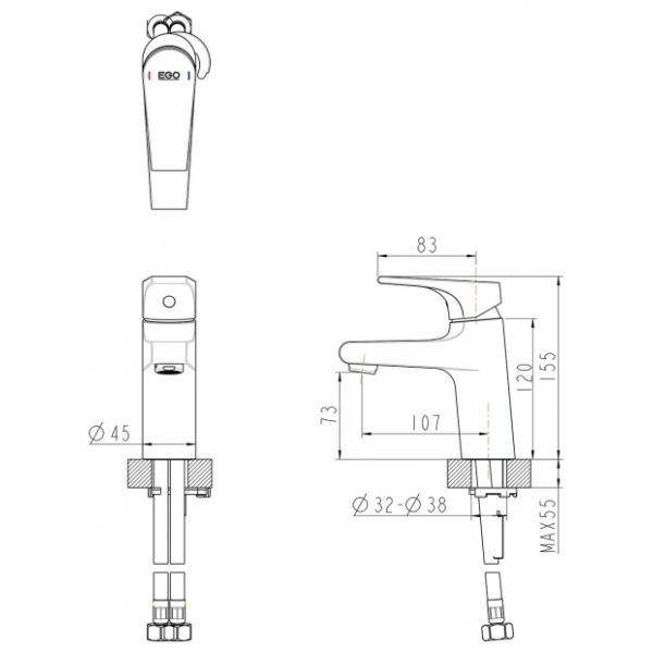 Смеситель для умывальника Bravat VEGA F1119177CP