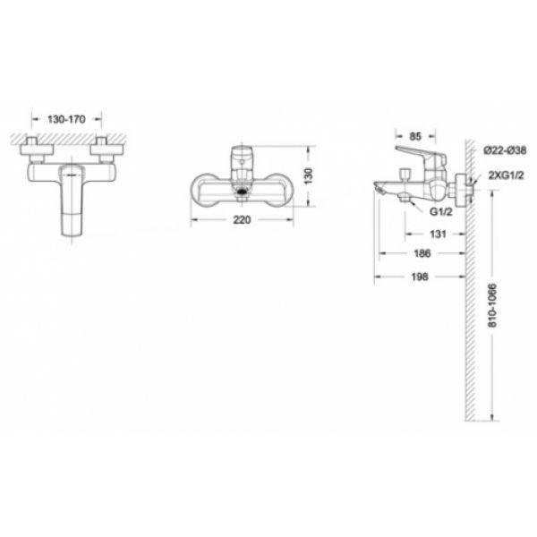 Смеситель для ванны с коротким изливом Bravat REAL F6121179CP-01