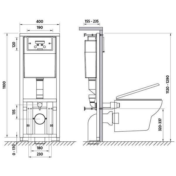 Инсталляция для подвесного унитаза Cersanit LINK K97-108