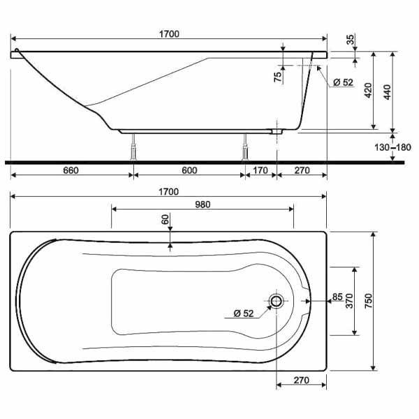 Акриловая ванна Kolo Comfort 170x75 (сифон)