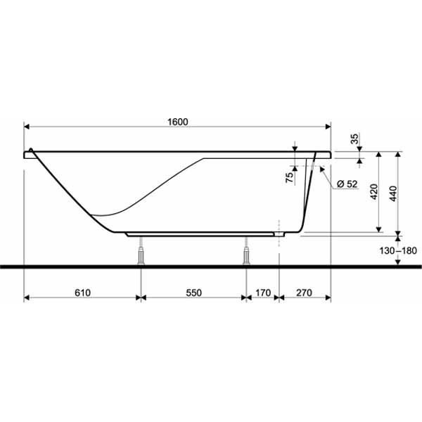 Акриловая ванна Kolo DIUNA 160x70 (сифон)