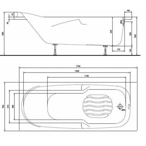 Акриловая ванна Kolo DIUNA 170x70 (сифон)