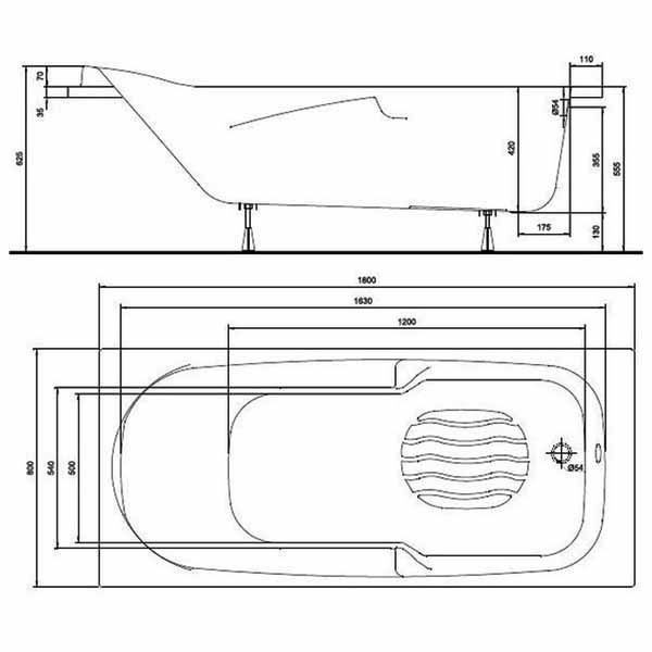 Акриловая ванна Kolo DIUNA 180x80 (сифон)