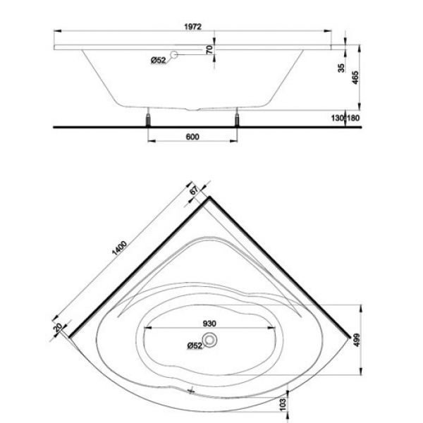 Акриловая ванна Kolo INSPIRATION 140x140 (сифон автомат)