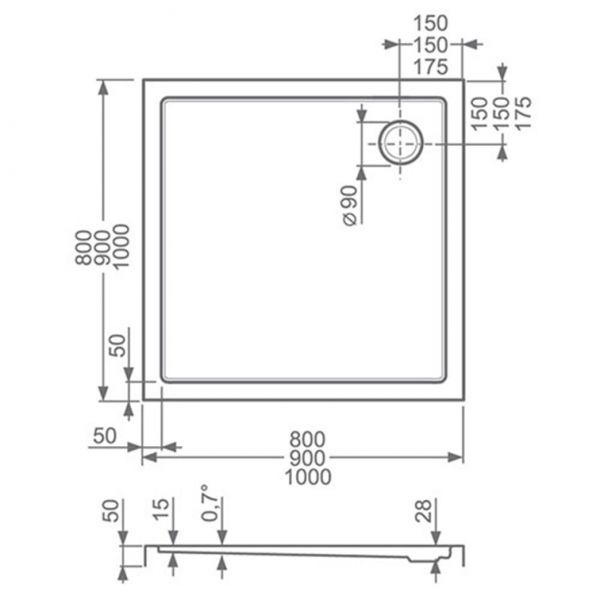 Душевой поддон Roltechnik Flat kvadro 100x90
