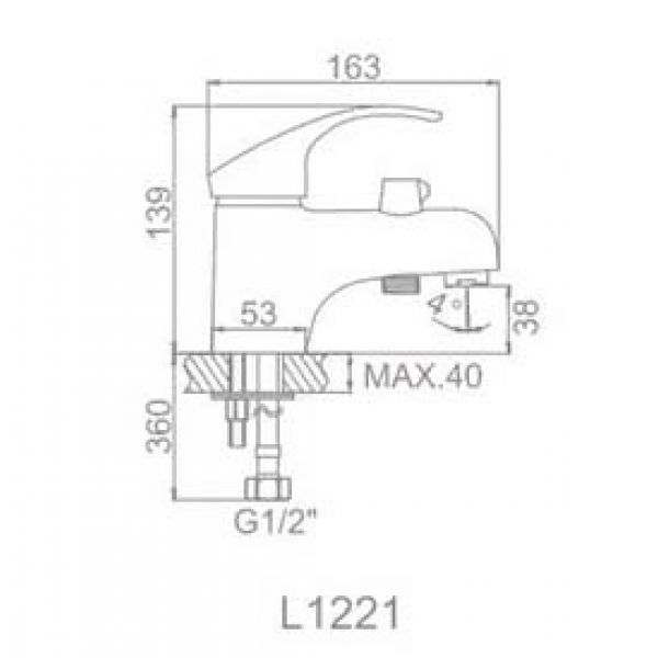 Смеситель для умывальника Ledeme L1221 с гигиеническим набором