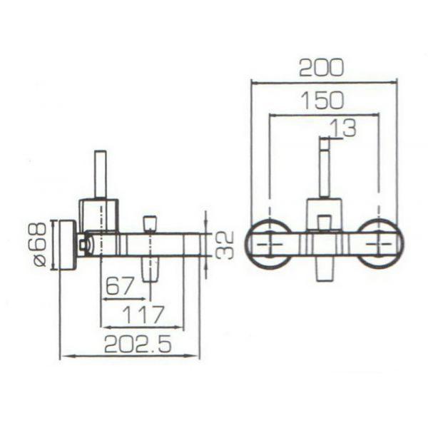 Смеситель для ванны с коротким изливом Bravat SPRING F679113C-01
