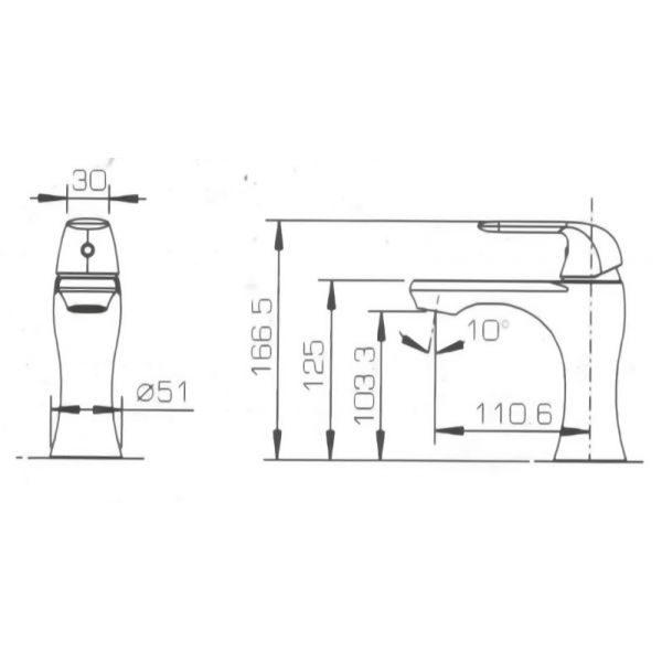 Смеситель для умывальника Bravat FLOW F171105C