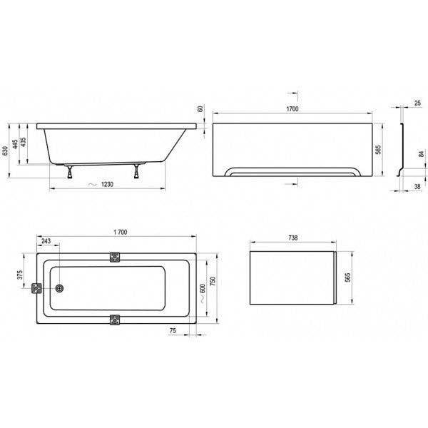 Акриловая ванна Ravak 10° 170x75 (сифон автомат)