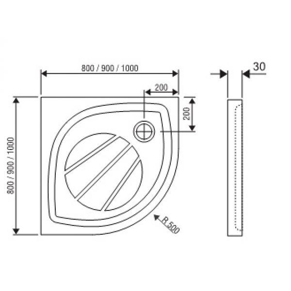 Душевой поддон Ravak Elipso Pro 80x80