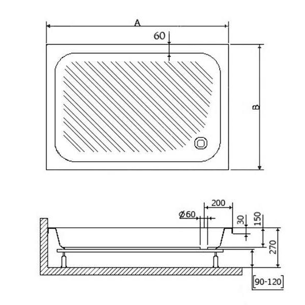 Душевой поддон RGW B/CL-S 100х90