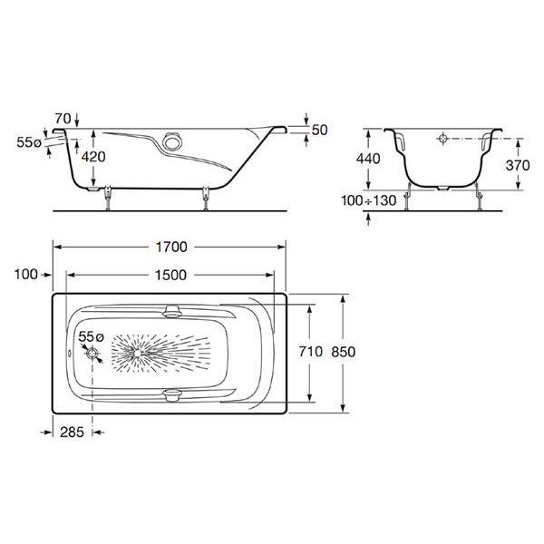Чугунная ванна Roca Ming 170х85 (сифон автомат)