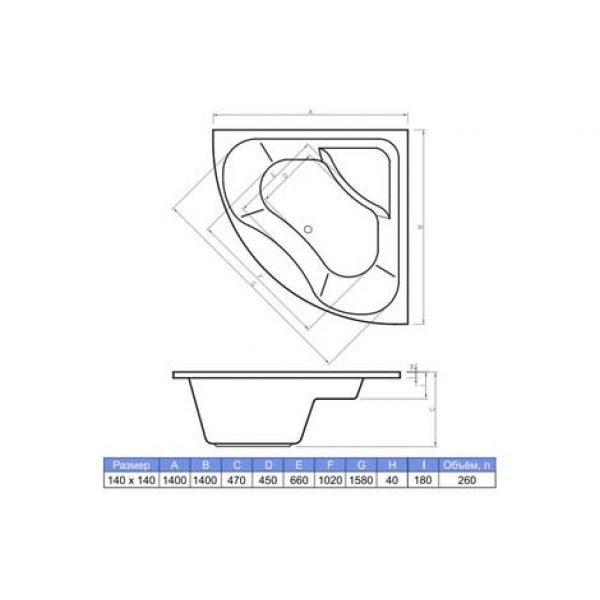 Акриловая ванна Banoperito Sefora 140х140 (сифон автомат)