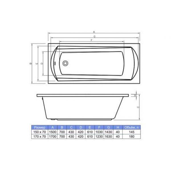 Акриловая ванна Banoperito Selena 170x70 (сифон)