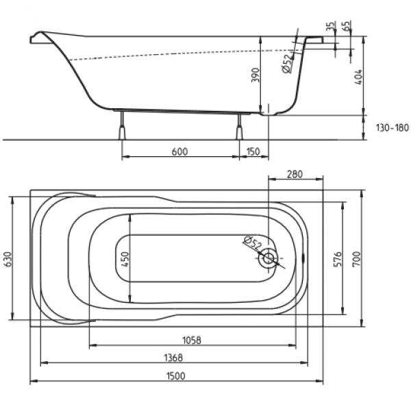 Акриловая ванна Kolo Sensa 150x70 (сифон)