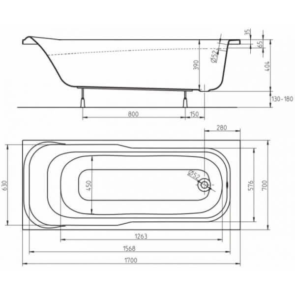 Акриловая ванна Kolo Sensa 170x70 (сифон)