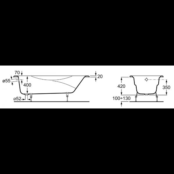 Чугунная ванна BLB Asia 170x75 (сифон)